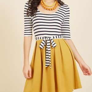 Modcloth Striped Dress in Navy & Marigold